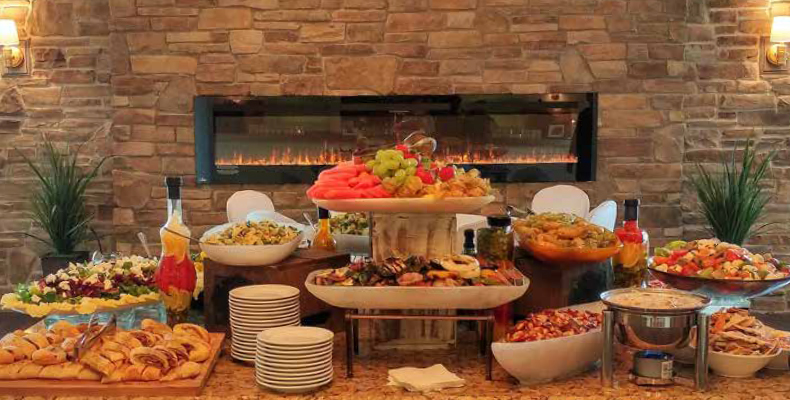 fireplace custom catering cusine menus packages