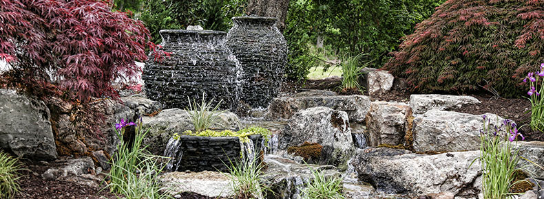 mansion outside garden wedding stone water feature