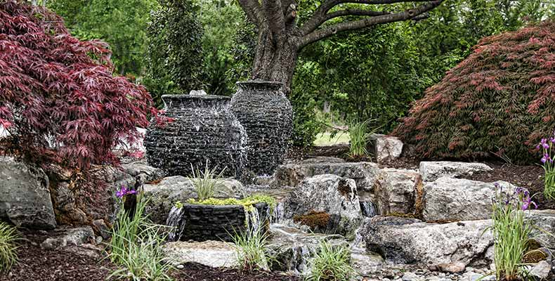 outdoor garden stone water feature