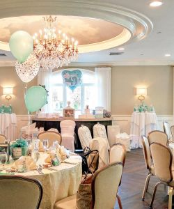 Baby Shower Event Room Tables Chandeliere