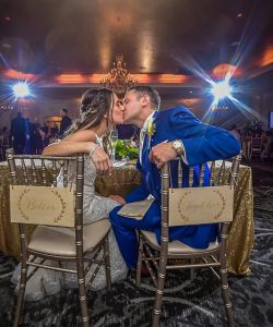 Bride Groom Sweetheart Table Kiss Ballroom Grand Wedding Reception