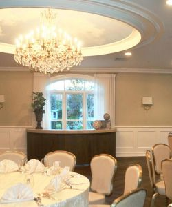 Chandeliere Over Reception Party Tables