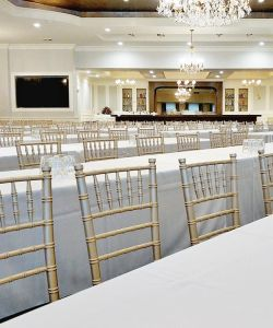 Corporate Meeting Event Presentation Long Tables