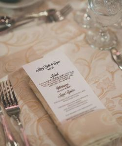 Elegant Menus Table Wedding Reception Cuisine