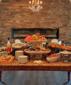 Elegant Rustic Catering Cuisine Fireplace Stone Wall