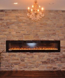 Elegant Rustic Stone Wall With Fireplace Reception Room