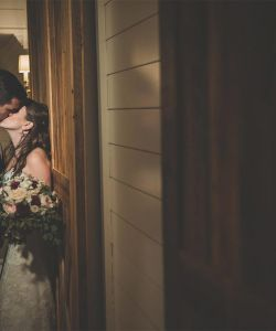 Groom Bride Kiss Rustic Romantic Wedding Venue
