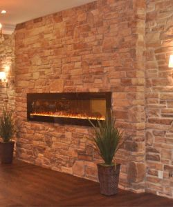 Rustic Event Reception Room Stone Wall With Fireplace