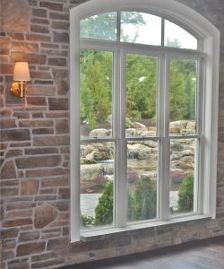 Rustic Stone Wall Window With Beautiful Garden View